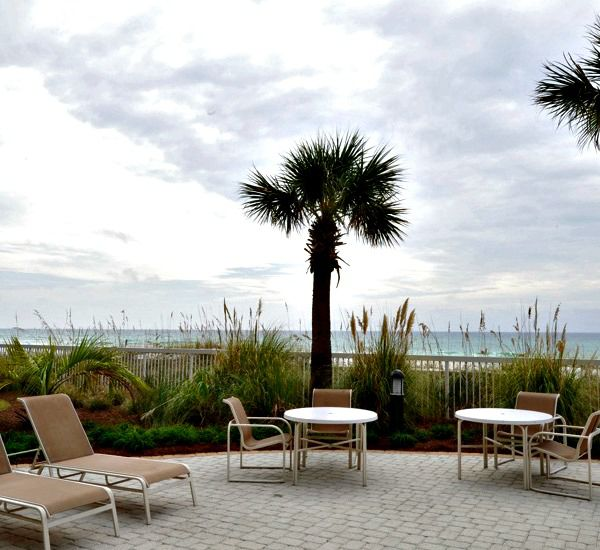 Gulf-front patio at Azure Fort Walton Beach