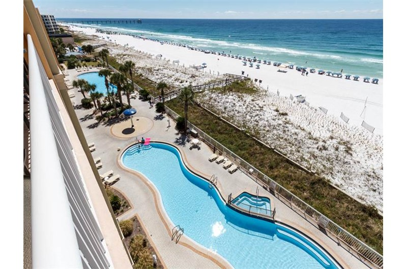 Nice view of pool from balcony at Azure in Fort Walton Beach Florida