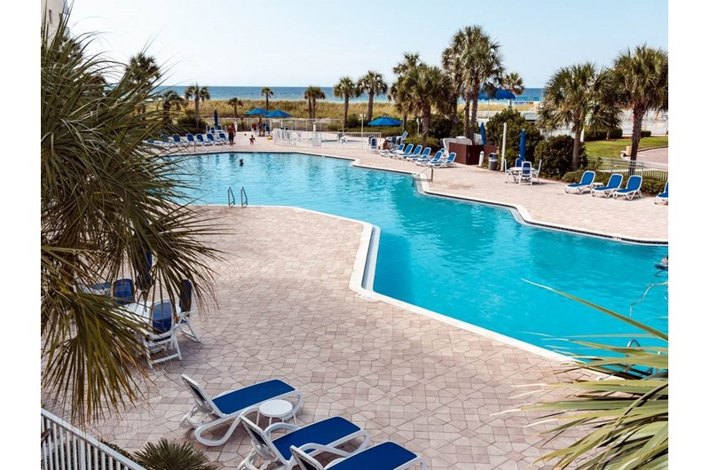 One of the large pool ares at Destin West Beach & Bay Resort  in Fort Walton Florida