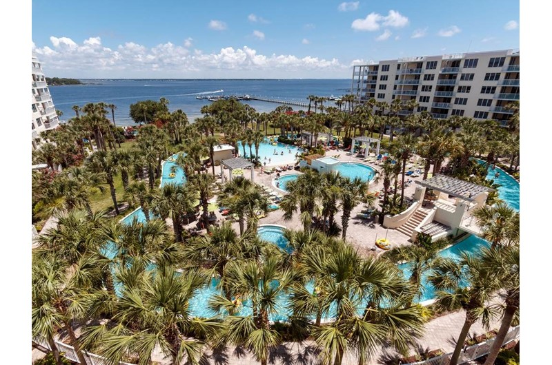Beautiful grounds and lazy river at Destin West Beach & Bay Resort  in Fort Walton Florida