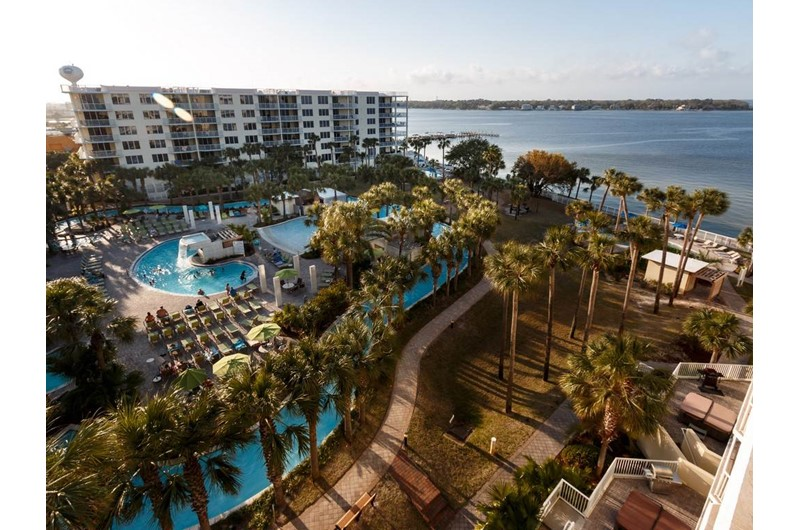 Lazy river and Gulf view at Destin West Beach & Bay Resort  in Fort Walton Florida