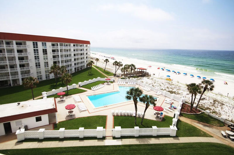 Gulf-front pool and beach at El Matador Fort Walton Beach