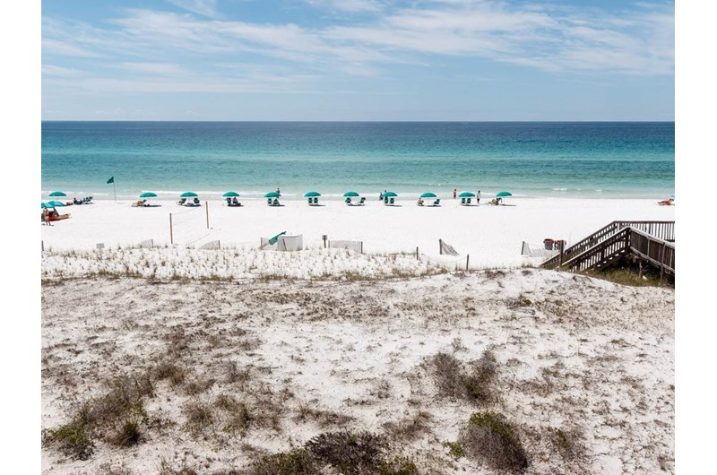 Direct view of the dunes and Gulf in front of Gulf Dunes in Fort Walton Beach FL