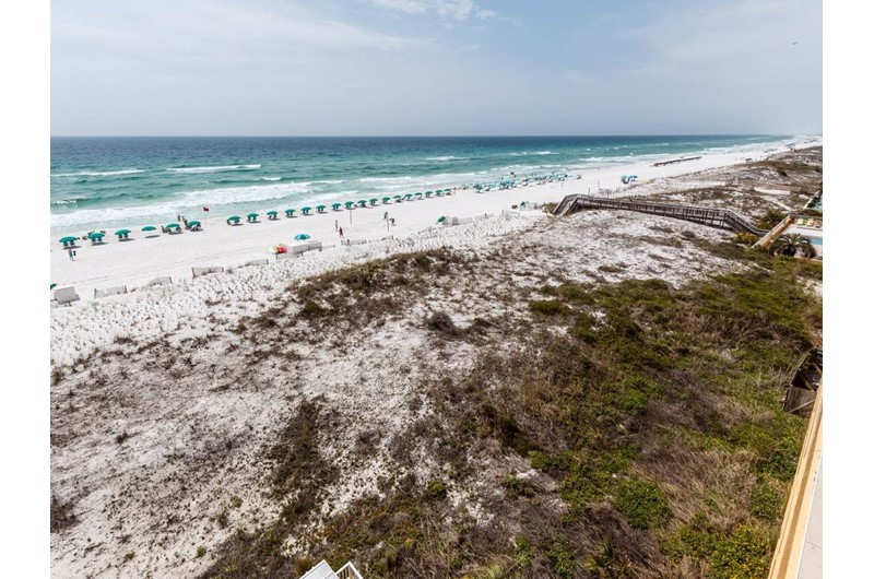View of the grounds and Gulf from Gulf Dunes in Fort Walton Beach FL
