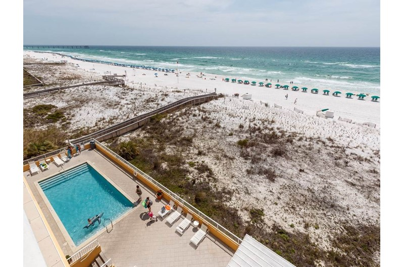 You will have a view of the pool beach and Gulf at Gulf Dunes in Fort Walton Beach FL