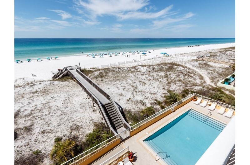 Birds eye view of the pool at Gulf Dunes in Fort Walton Beach FL