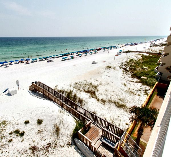 Panoramic view of the beach and Gulf from a private balcony at Gulfside Condo Fort Walton Beach