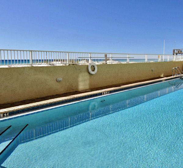 Enjoy the pool right on the beach at Island Echos Condominiums in Fort Walton Florida