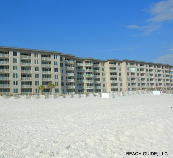 Exterior view from the beach at Island Princess Fort Walton
