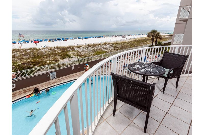 Relax on the balcony and see the pool and beach at Island Princess in Fort Walton Beach FL