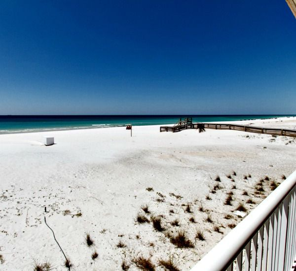 White sand beach in front of Islander Beach Resort  in Fort Walton Florida