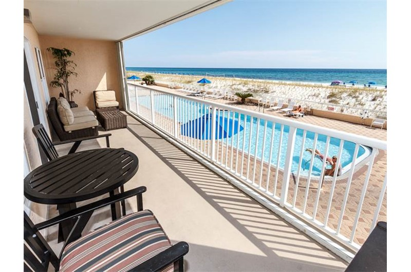 Enjoy a view of the pool and beach from Islander Beach Resort  in Fort Walton Beach Florida