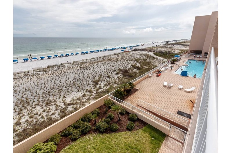 The pool and beach are right outside you condo at Islander Beach Resort  in Fort Walton Beach Florida