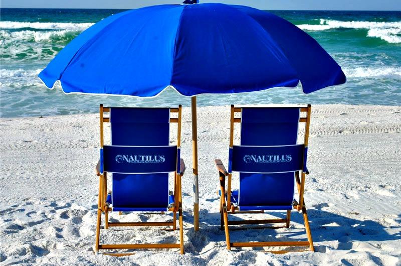 Beach chairs at Nautilus Condominiums in Fort Walton Beach FL