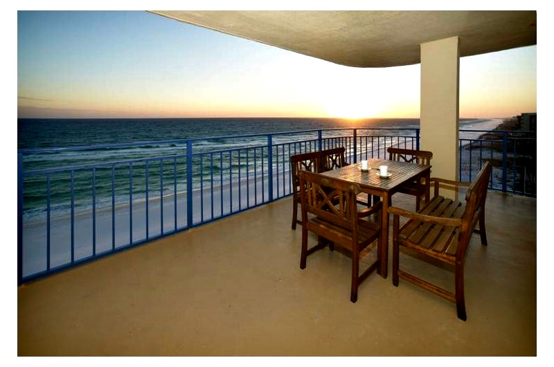 Balcony view of beach at Nautilus Condominiums in Fort Walton Beach FL