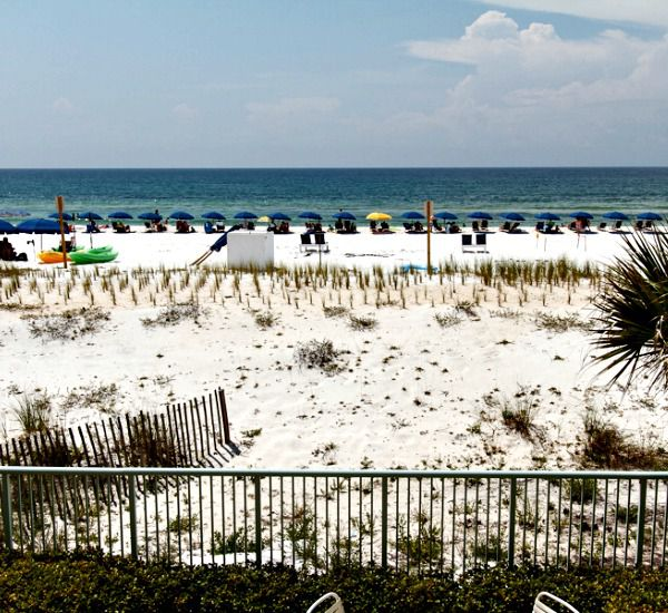 Beach is directly in front of Pelican Isle Condos in Fort Walton Florida