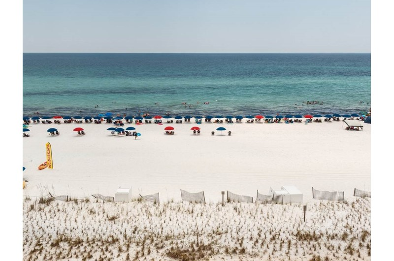 Gulf and beach at Pelican Isle Condos in Fort Walton Florida