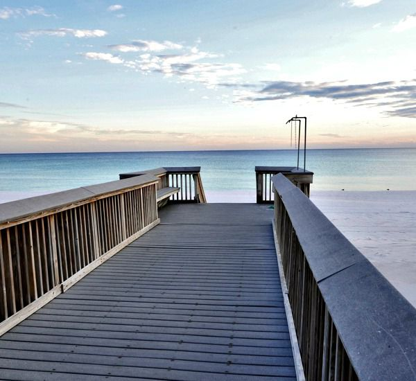 Beach boardwalk and stairs at Waters Edge Condos in Fort Walton Florida