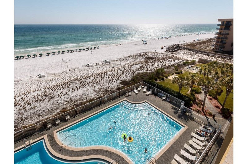 View of the pool and beach from Waters Edge Condos in Fort Walton FL