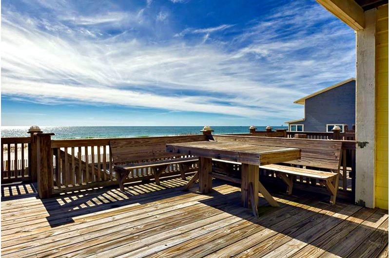 Beachfront patio at Blue Parrot in Gulf Shores AL