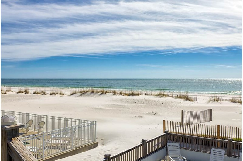 Lovely beach view from Blue Parrot in Gulf Shores Alabama