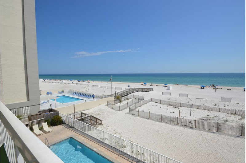 See for miles of Gulf from you balcony at Caribbean Condos in Gulf Shores Alabama