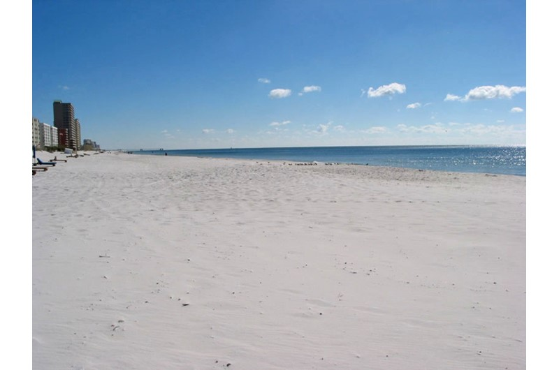 Miles of beach for long walks from Caribbean Condos in Gulf Shores Alabama
