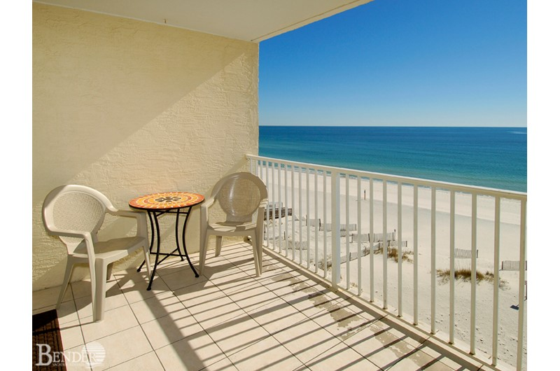 Lovely Gulf front balcony at Clearwater Condominiums in Gulf Shores AL