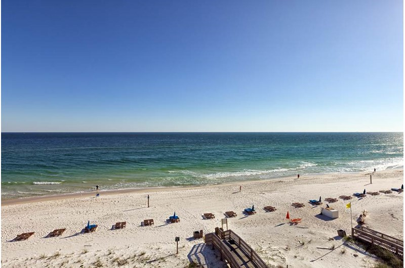 Balcony view of the beach and Gulf at Crystal Shores Gulf Shores