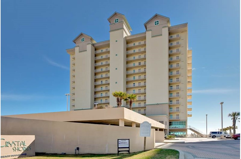 Exterior view from the street at Crystal Shores Gulf Shores