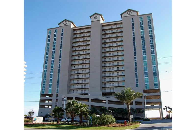 Street view of Crystal Shores West Condo in Gulf Shores AL