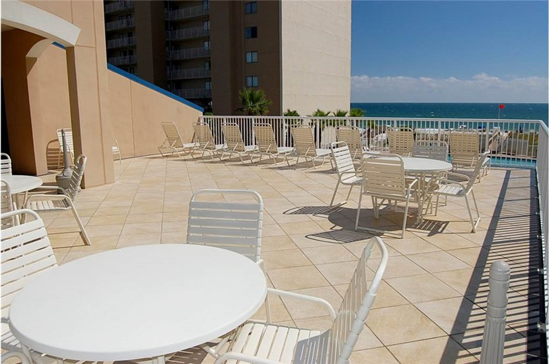 Pool deck at Crystal Towers Gulf Shores