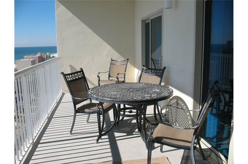 Spacious balcony at Crystal Towers Gulf Shores