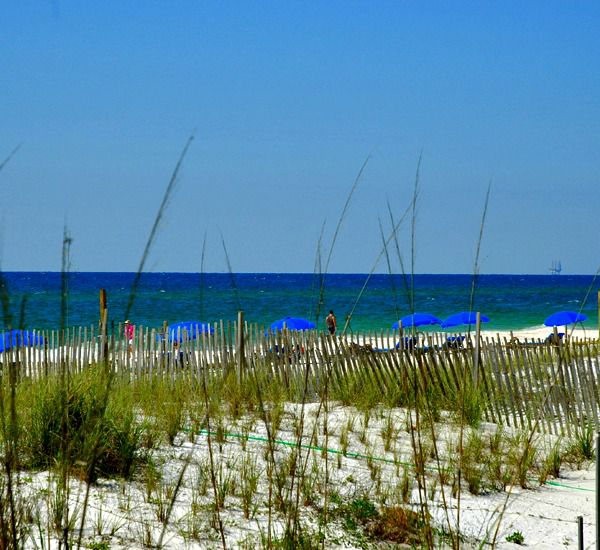 View over the dunes to the beach and Gulf at Crystal Towers Gulf Shores