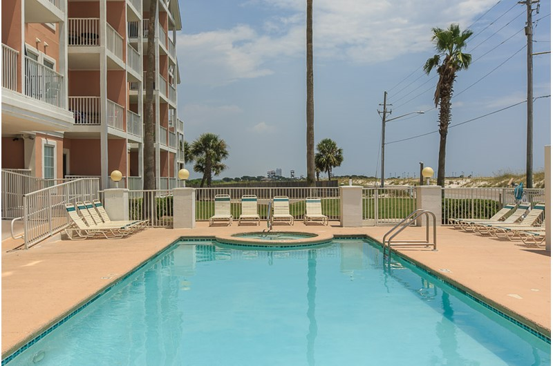 Pool view of Grand Beach in Gulf Shores AL