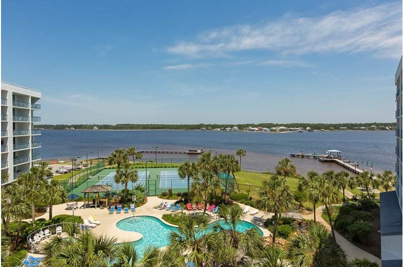 Lovely bay view from Gulf Shores Surf and Racquet Club in Gulf Shores Alabama