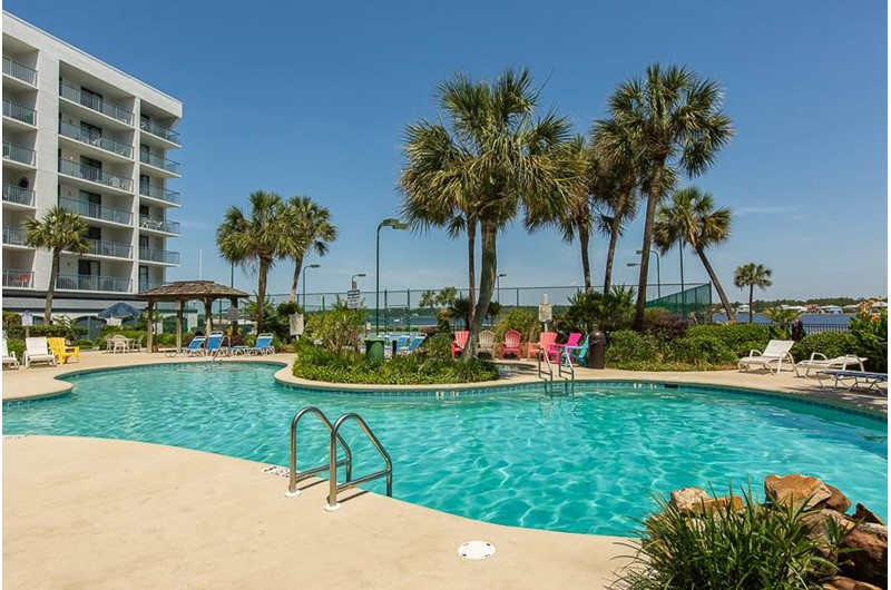 Large pool area at Gulf Shores Surf and Racquet Club in Gulf Shores Alabama