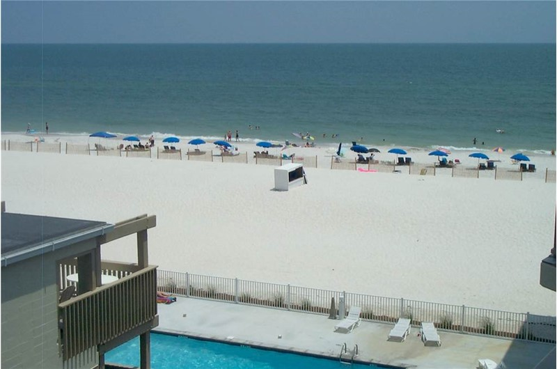 Balcony view of the beach and Gulf at Gulf Village Gulf Shores AL