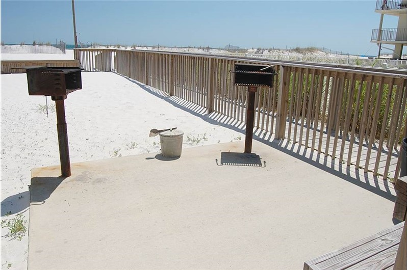 Beachfront barbecue grills at Gulf Village Gulf Shores AL