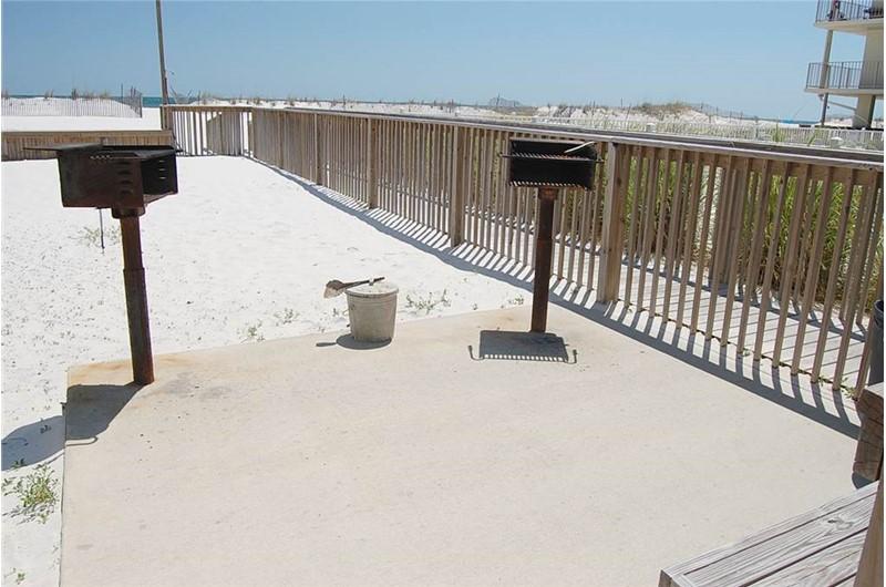 Beachfront barbecue grills at Gulf Village Gulf Shores AL