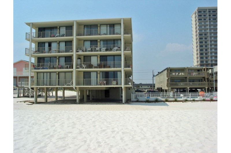 Exterior view from the beach at Gulf Village Gulf Shores AL