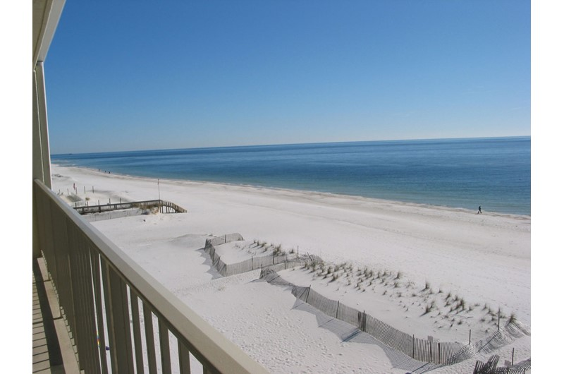 Balcony view of the beach at Gulf Village Gulf Shores AL