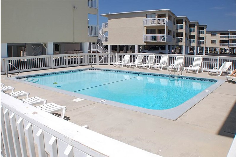Refreshing view of the pool at Harbor House in Gulf Shores AL