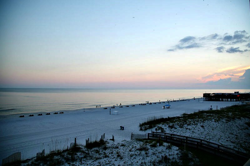 Evening beach view at Island Sunrise Gulf Shores