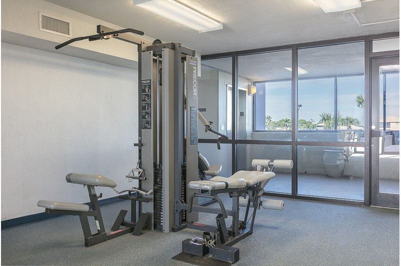 Stay fit while on vacation in the gym at Island Winds West in Gulf Shores AL