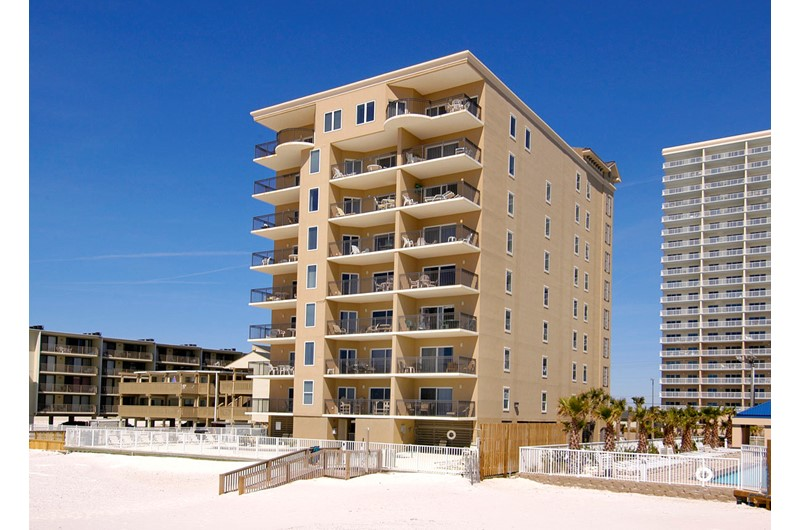 Legacy Gulf Shores exterior view from the beach