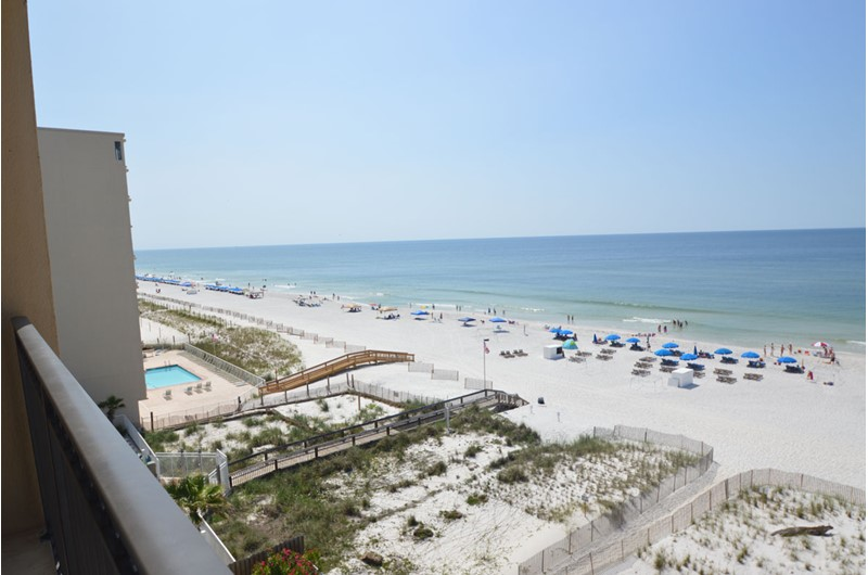 Panoramic view of the beach and Gulf at Legacy Gulf Shores
