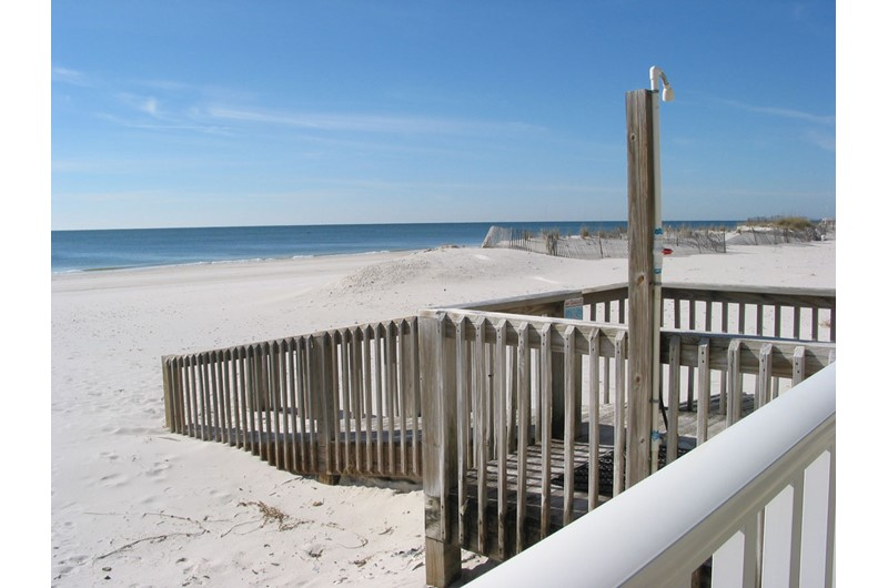 A convenient dune walkover offers easy beach access at Legacy Gulf Shores.