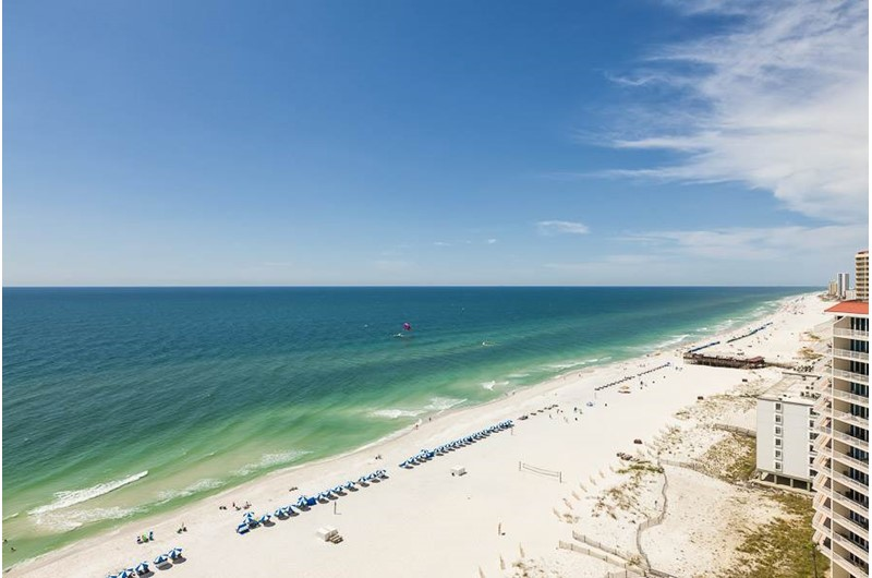 You can see for miles down the beach and out into the Gulf from the private balconies at the Lighthouse Gulf Shores.