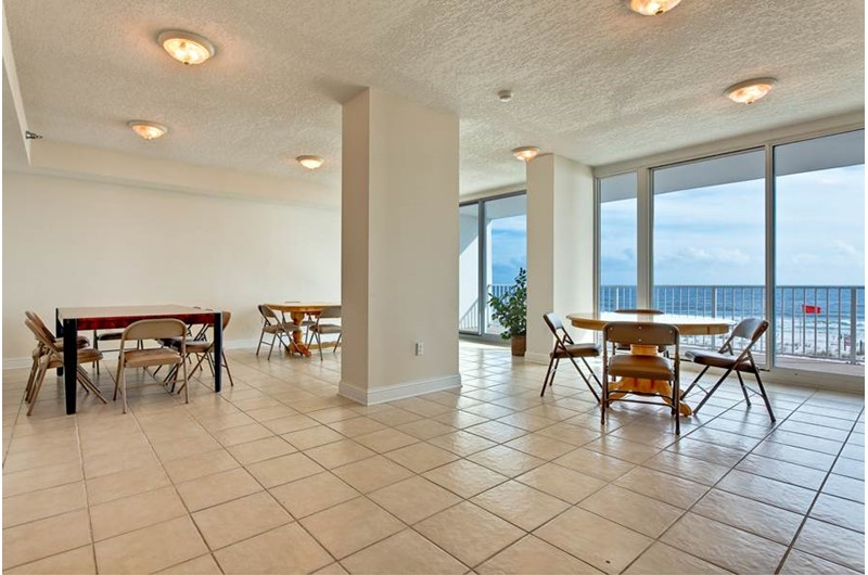 The spacious gathering room at the Lighthouse Gulf Shores is the perfect spot for a party family reunion or other special occasion.
